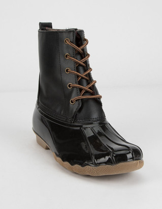Wild Diva Shearling Lace Up Black Womens Weather Boots