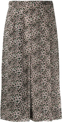 Rochas Silk Flower Print Pleated Skirt