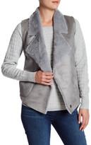 French Connection Reversible Faux Fur & Faux Leather Drape Vest