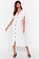 Nasty Gal Womens We Won't Back Button-Down Ruffle Midi Dress - white - S