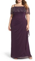 Xscape Evenings Plus Size Women's Beaded Cold Shoulder Gown