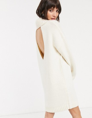 Asos Design DESIGN chunky mini dress with roll neck with open back-Cream
