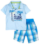 Petit Lem Baby Boys Fishy Fishy Two-Piece Polo Top and Cargo Short Set
