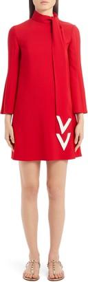 Valentino Scarf Neck Long Sleeve Minidress