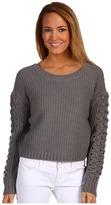 BCBGeneration Cable Sleeve Crop Sweater (Medium Heather Grey) - Apparel