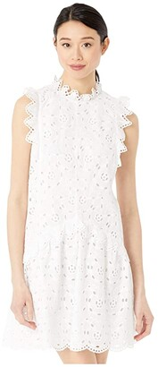Rebecca Taylor Sleeveless Mina Eyelet Dress (Milk) Women's Clothing