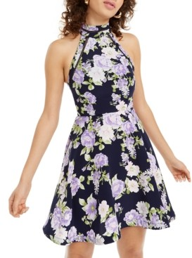 B. Darlin Juniors' Halter Floral Fit & Flare Dress
