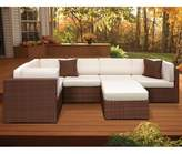 Atlantic Bellagio 6-Piece Patio Sectional Set in Brown/Off-White