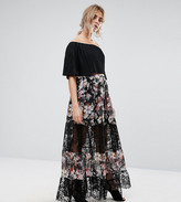boohoo Floral Print Lace Panel Maxi Skirt