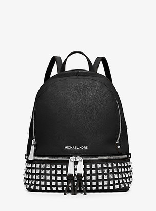 MICHAEL Michael Kors MK Rhea Medium Studded Pebbled Leather Backpack - Black - Michael Kors