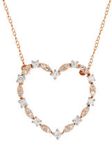 Lord & Taylor 0.75 TCW Diamonds and 14K Rose Gold Heart Pendant Necklace