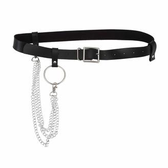 Fauge Women Pu Leather Harness Body Belts With Chain Waist Bondage Garters Punk Adjustable Suspender Straps