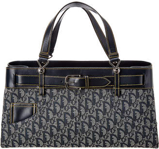 Christian Dior Blue Trotter Canvas & Leather Tote