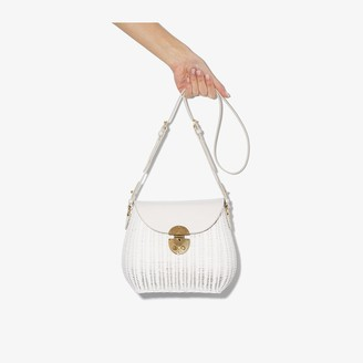 Miu Miu White woven wicker shoulder bag