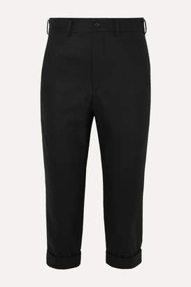 Comme des Garcons Cropped Wool Tapered Pants - Black