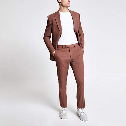 River Island Brown twill suit trousers