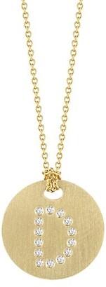 Roberto Coin Tiny Treasures Diamond & 18K Yellow Gold Initial Pendant Necklace