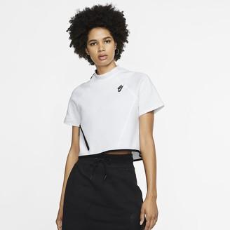 Nike Women's Short-Sleeve Top Sportswear Tech Fleece
