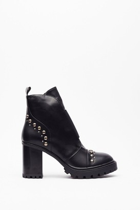 Nasty Gal Womens You Stud Up to 'Em Faux Leather Platform Boots - Black