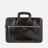 Aspinal of London Men's Connaught Document Case - Black Croc