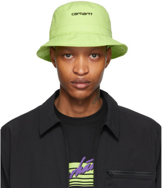 Carhartt Work In Progress Green Logo Script Bucket Hat