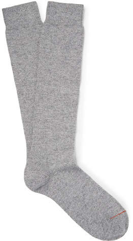 Loro Piana Mélange Stretch-Cashmere Over-The-Calf Socks