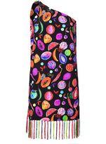 Matthew Williamson We Liming Silk Tassel One Shoulder Dress