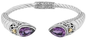 Devata Amethyst (5-1/10 ct t.w.) Bali Heritage Classic Cuff Bracelet in Sterling Silver and 18k Yellow Gold Accents