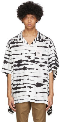 Burberry Black and White Viscose Watercolor Print Shirt