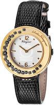 Salvatore Ferragamo 36mm Gancio Sparkling Watch w/ Crystals & Leather Strap, Black