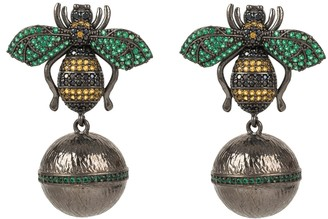 Latelita Green Bee Ball Drop Earring Oxidised