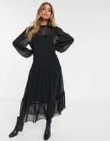 Asos Design DESIGN high neck tiered dobby maxi dress in black