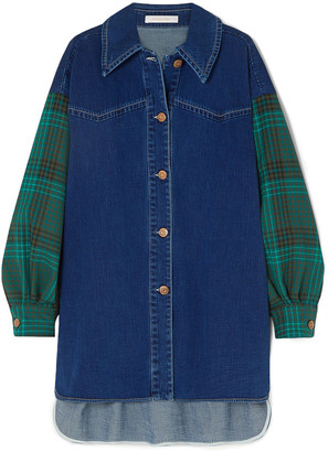 See by Chloe Oversized Denim And Checked Twill Shirt