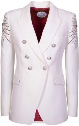 White Embroidered Blazer Luna
