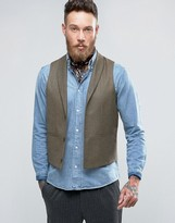 Asos Skinny Vest With Shawl Collar In Brown