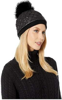 UGG Quilted All Weather Hat with Pom (Black) Beanies