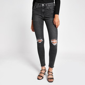 River Island Womens Grey Amelie super skinny ripped jeans