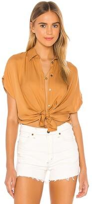 Indah Eliza Solid Button Up Short Sleeve Shirt