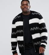Asos Plus Mohair Wool Blend Bomber Jacket In Monochrome Stripe