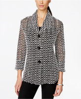 JM Collection Printed Three-Quarter-Sleeve Jacket, Only at Macy's