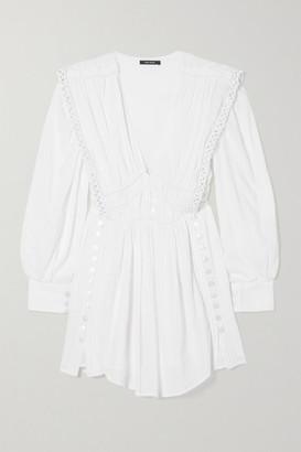 Isabel Marant Yaxo Crochet-trimmed Gathered Cotton-voile Mini Dress - White