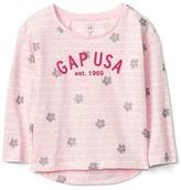 Gap Logo floral stripe hi-lo tee