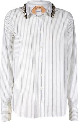 N°21 N.21 Crystal Embellished Stripe Shirt