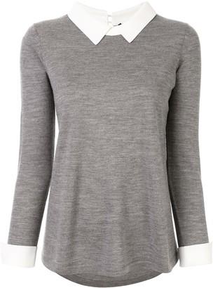 Paule Ka Contrasting Shirt Collar Jumper