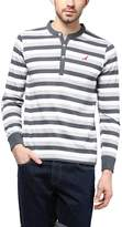 American Crew Striped Henley Full Sleeves T-Shirt - L (AC233-L)