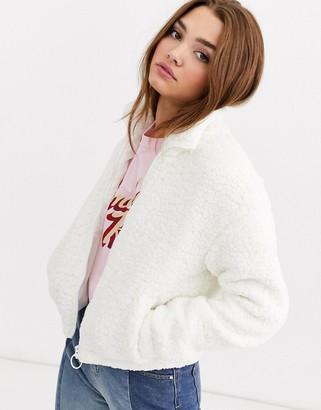 JDY teddy jacket in white