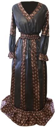Wasulu London Sweetheart Flute Sleeve Two-Tone Maxi Dress