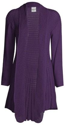 GirlsWalk Women's Plain Crochet Knitted Waterfall Cardigan Sweater - purple - 12-14