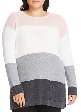 Vince Camuto Plus Waffle-Knit Pocket Sweater