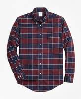 Brooks Brothers Non-Iron Regent Fit Burgundy Plaid Sport Shirt